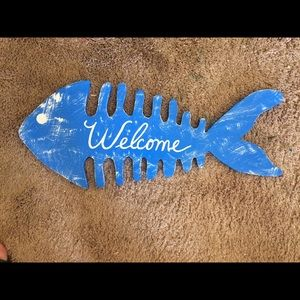 Solid wood hand painted fish welcome sign